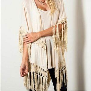NWT Umgee Crochet Fringe Kimono Beige Size M